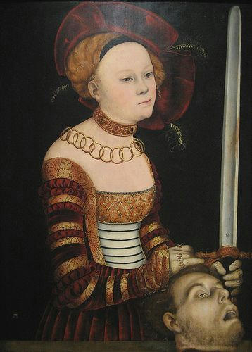 Portrait of a Lady of the Saxon Court as Judith with the Head of Holofernes, circa 1537 - 1540  Hans Cranach