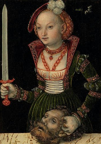 "Lucas Cranach the Elder, ""Judith with the Head of Holofernes,"" c.1537, Oil on panel, auctioned by Christies"