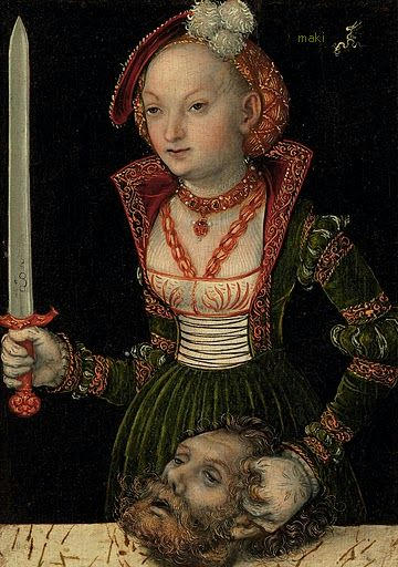 """Lucas Cranach the Elder, """"Judith with the Head of Holofernes,"""" c.1537, Oil on panel, auctioned by Christies"""