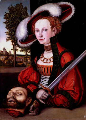 "Lucas Cranach the Elder, ""Judith with the Head of Holofernes,"" c.1530, Burrell Collection, Glasgow, Scotland, UK"