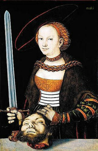 "Lucas Cranach the Elder, ""Judith with the head of Holofernes,"" 1525, Syracuse University Art Collection, Syracuse, New York, USA"