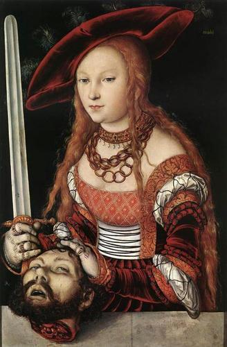 """Lucas Cranach the Elder, """"Judith with the Head of Holofernes,"""" c.1530, Kunsthistorisches Museum, Vienna, Austria"""
