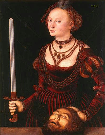"""attributed to Lucas Cranach the Elder, """"Judith with the Head of Holofernes,"""" c.1537, auctioned by Dorotheum"""