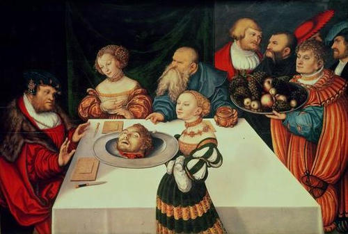 Salome presents the head of John the Baptist at Herod's Feast