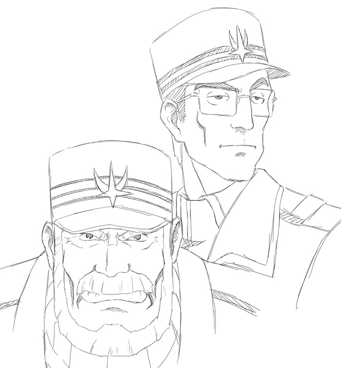 タシロ艦長と副長