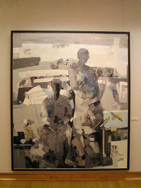 『二人の風景』1998年★末永正子は、長年出品していた道展で、1998年、一躍出品作が注目を集めて協会賞を受けた。その翌年に新会友、次いで会友賞、会友賞と2回続き、そしてまた翌02年に会員となった画家である。このような軌跡で歩を進めた画家は、道展でもめずらしい。