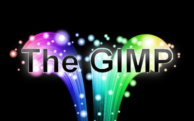 虹色のテキスト「The GIMP」