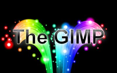 GIMP下から飛び出す幹事の虹色テキスト