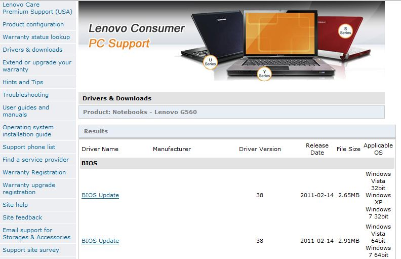 Lenovo G560 BIOS Flash process 手順