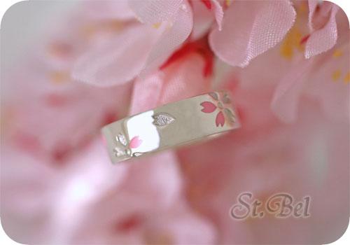 桜デザインのシルバーピンキーリング