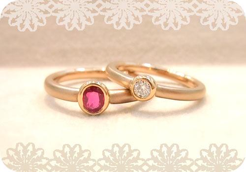 ピンクゴールドでルビーとダイヤのリング!