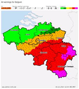 大雪警報 ベルギー