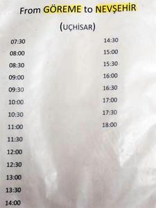 ギョレメからネブシェヒル行き時刻表