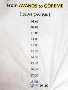 アバノスからギョレメ行き時刻表