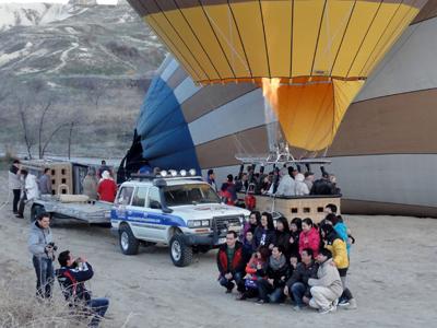 気球に乗る前に記念撮影
