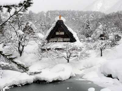 冬の民家園の風景