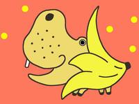 動物キャラクターのイラスト.4<バナナ・カバ>