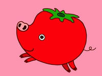 動物キャラクターのイラスト.5<トマト・豚>