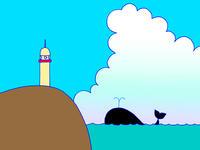 シンプル系イメージイラスト.8<クジラが泳ぐ海>