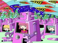 SFテーマのイラスト.5<ロボット戦士の行進>