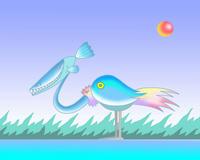 SFテーマのイラスト.10<魚水鳥>