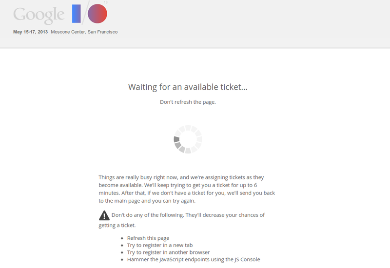 Google I/O is sold out.