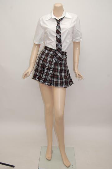 チェックネクタイ付き制服半袖 ブラック コスチューム 9号