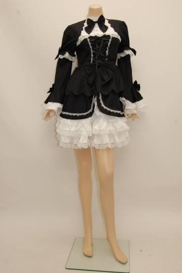 モノトーンフリル☆ゴスロリ ブラック×ホワイト ショートコスチューム 9号
