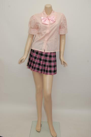 ピンクチェック・リボン付き制服 ピンク ショートコスチューム