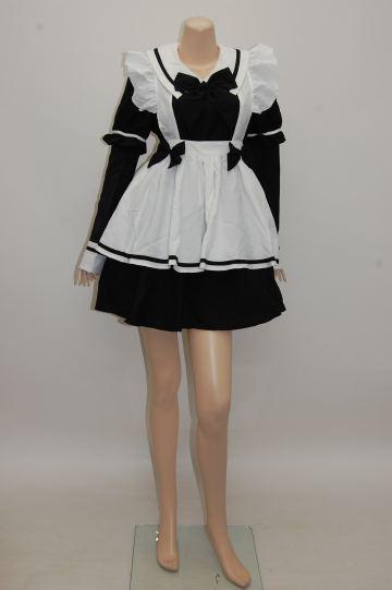 2WAYゴスロリ風メイド服 ブラック ショートコスチューム
