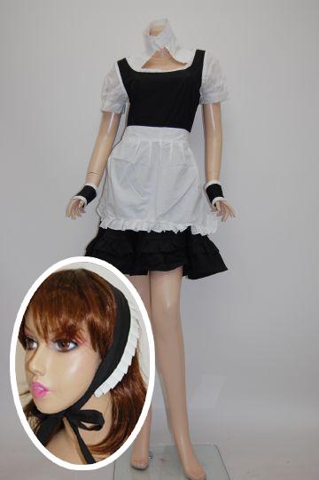 バックスピンドル☆白黒メイド ブラック コスチューム
