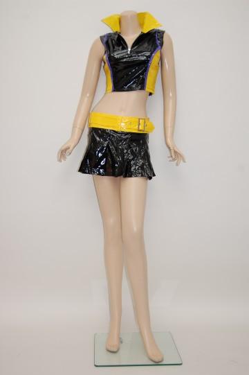 胸元ファスナーレースクィーン ブラック×イエロー ショートコスチューム