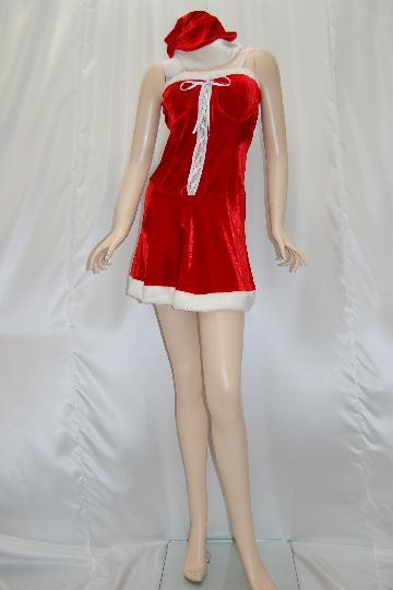 胸元レースアップ ミニサンタ ドレス
