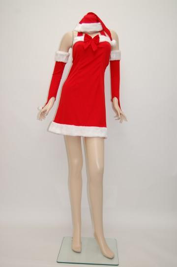 胸元リボンホルターネック サンタドレス
