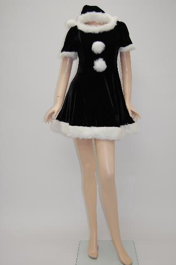 高級ブラック & ホワイト ☆ ワンピース サンタ ドレス