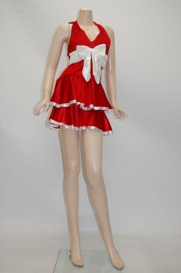 リボン付き☆2段フレアー レッド サンタドレス
