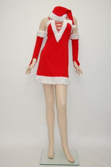 編み編み胸元 サンタドレス