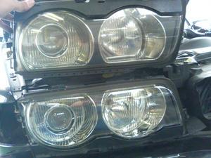BMW E38ヘッドライト清掃&イカリング取り付け