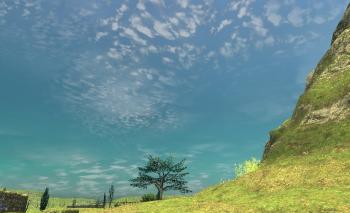 過去世界の空。うろこ雲が印象的です。