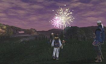 花火でお祝い