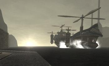 朝もやの中到着する飛空艇