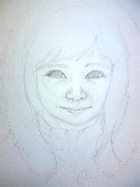 ひめ画伯の誕生日(8歳)の絵:下書き