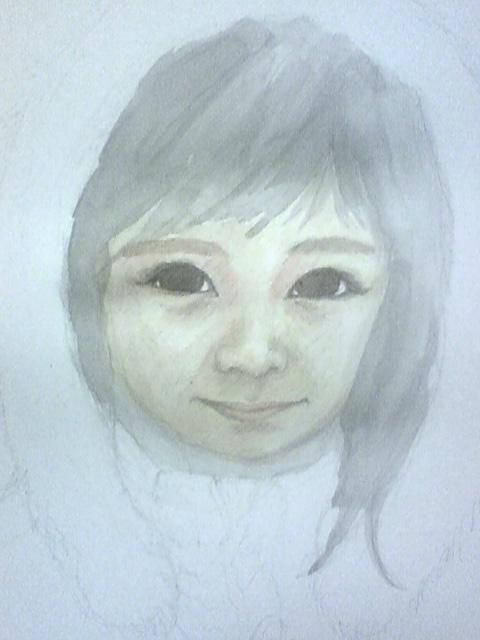 ひめ画伯の誕生日(8歳)の絵:下塗り