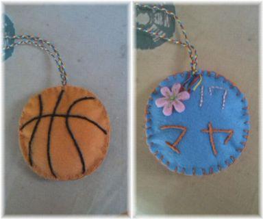 フェルトでmayaのバスケットボールのマスコットを作りました。