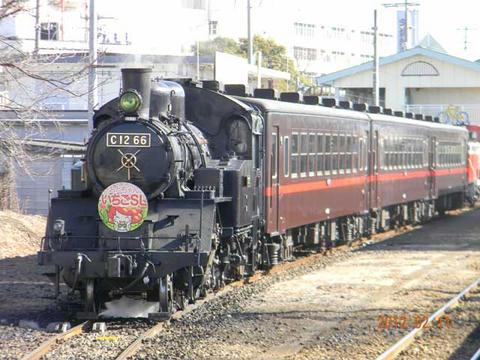 「SLもおか」号(2012年2月11日・下館駅)