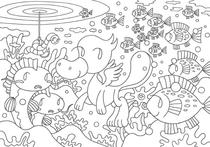 Coloring paper - 「Companions in lake」