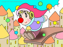 Cute pierrot ・ Jump ・ Digital art ・ Pierrot illustration ・ Pierrot image