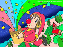 Brilliant star ・ Surprise box ・ Pierrot picture ・ Cartoon pierrot ・ Colorful illustration