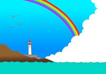 Sea ・ Rainbow ・ Lighthouse ・ Towering cloud in summer ・ Fine weather