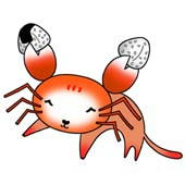 Crab and cat's collaborations character - Rice ball is loved